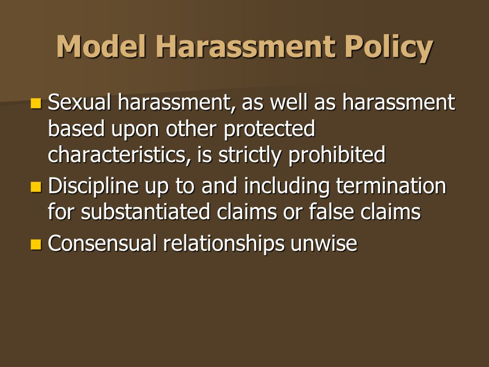 Model Harassment Policy