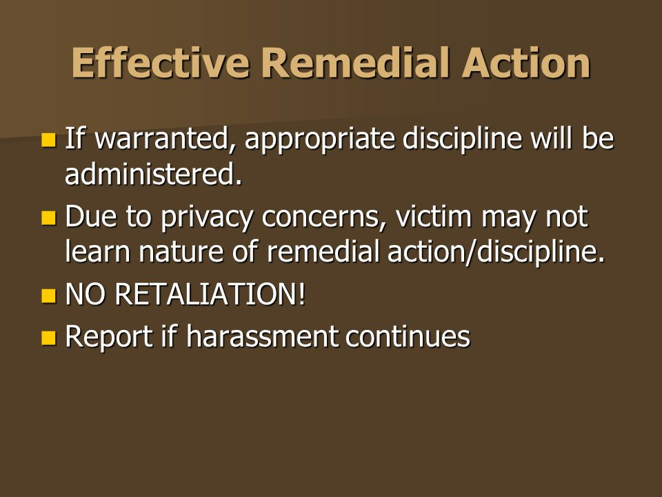 Effective Remedial Action