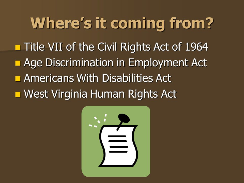 Where's it coming from Title VII of the Civil Rights Act of 1964