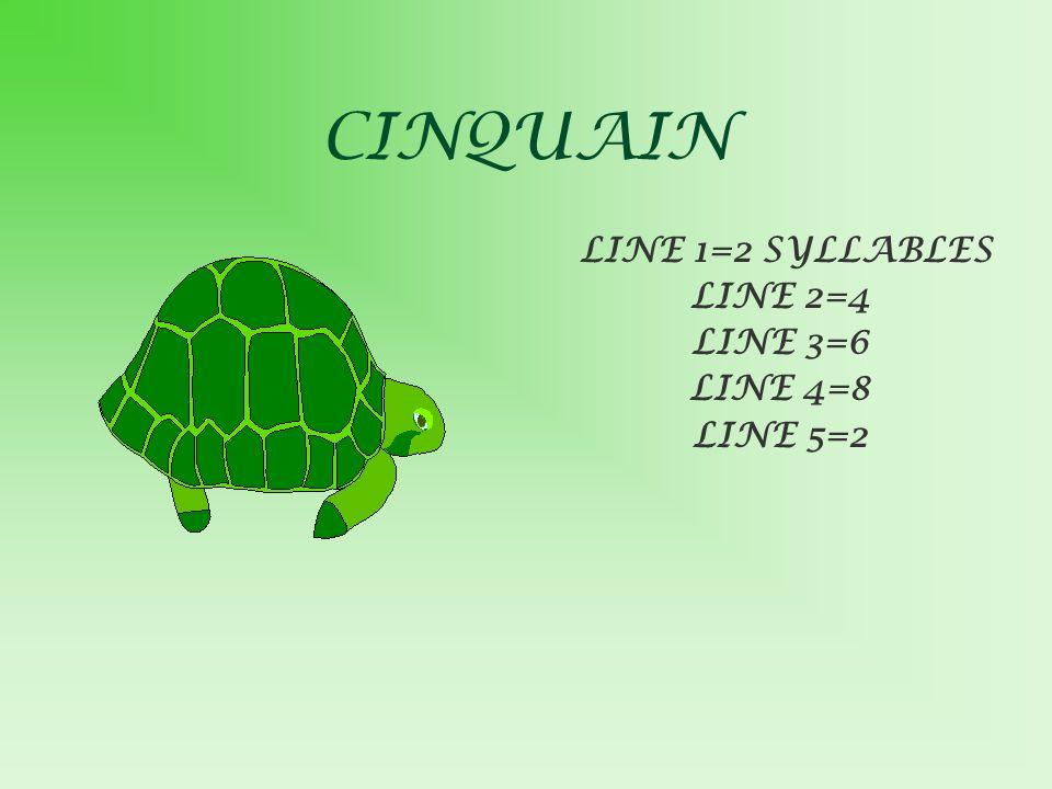 CINQUAIN LINE 1=2 SYLLABLES LINE 2=4 LINE 3=6 LINE 4=8 LINE 5=2