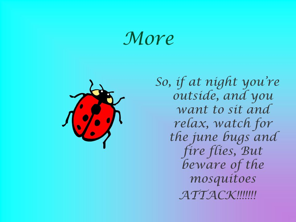 More So, if at night you're outside, and you want to sit and relax, watch for the june bugs and fire flies, But beware of the mosquitoes.