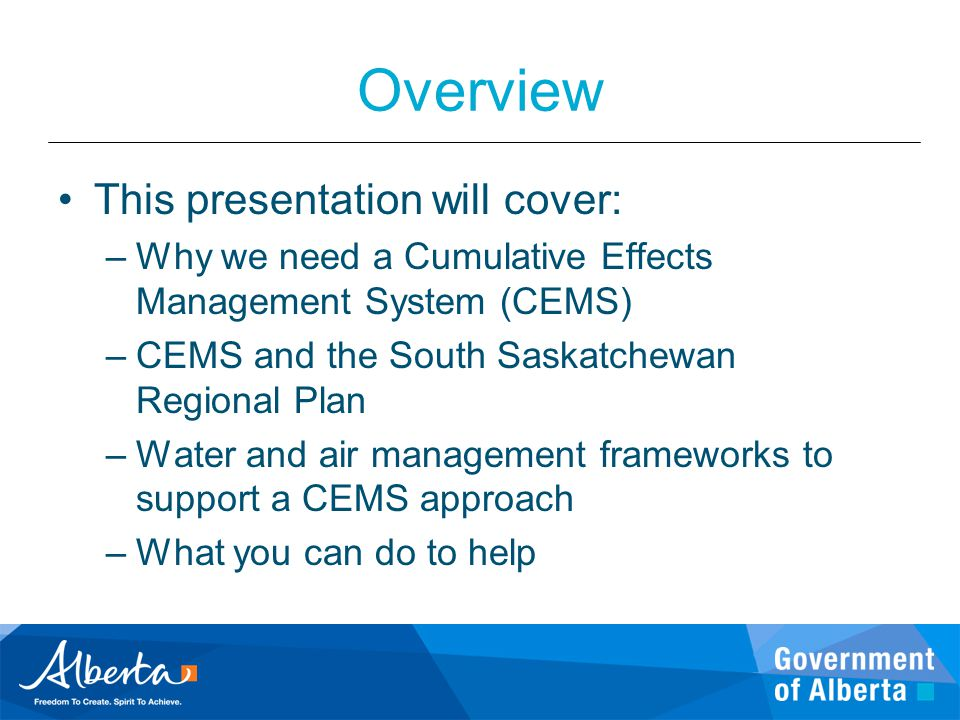 Overview This presentation will cover: