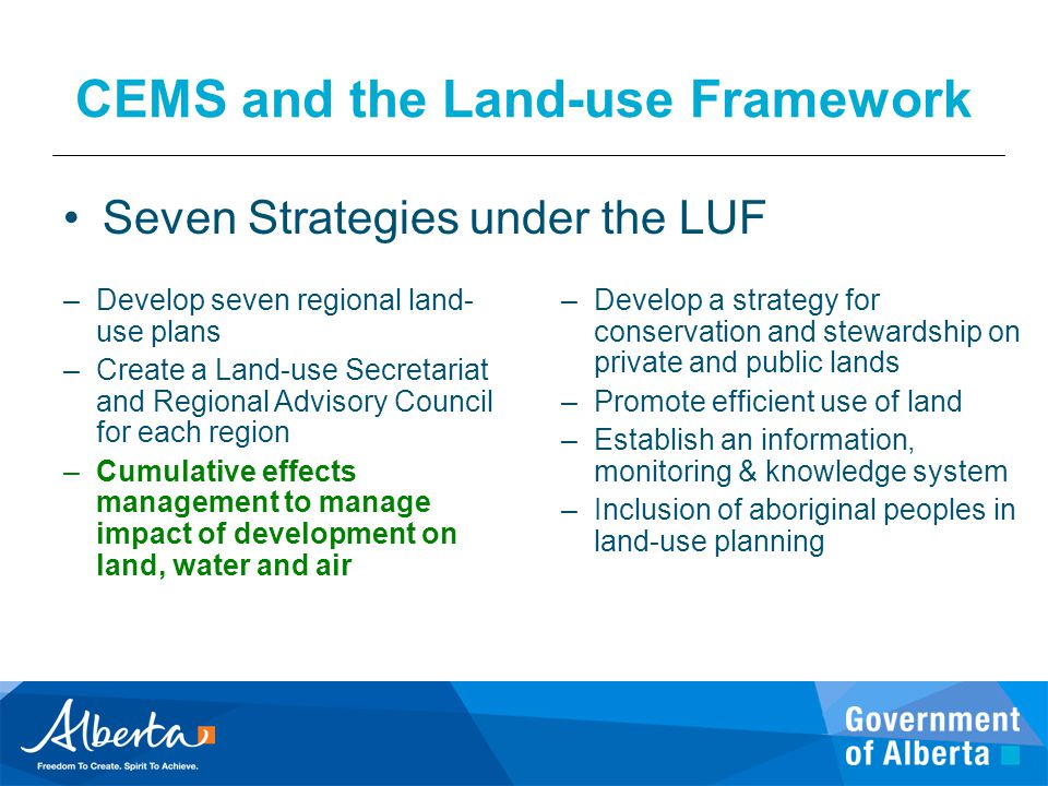 CEMS and the Land-use Framework