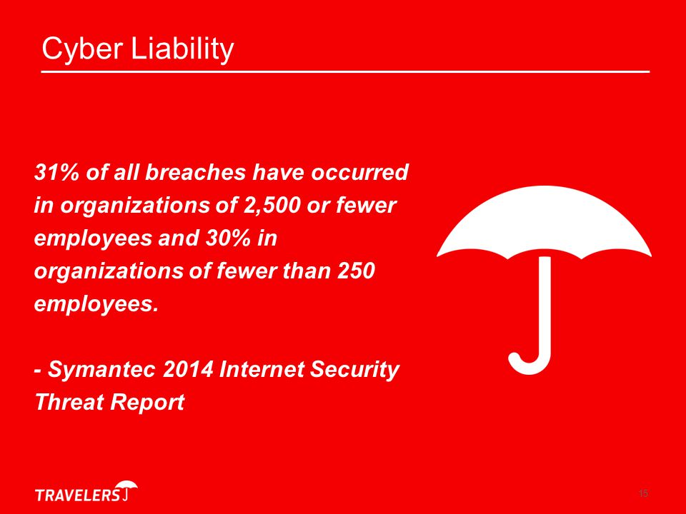 Cyber Liability 31% of all breaches have occurred in organizations of 2,500 or fewer employees and 30% in organizations of fewer than 250 employees.