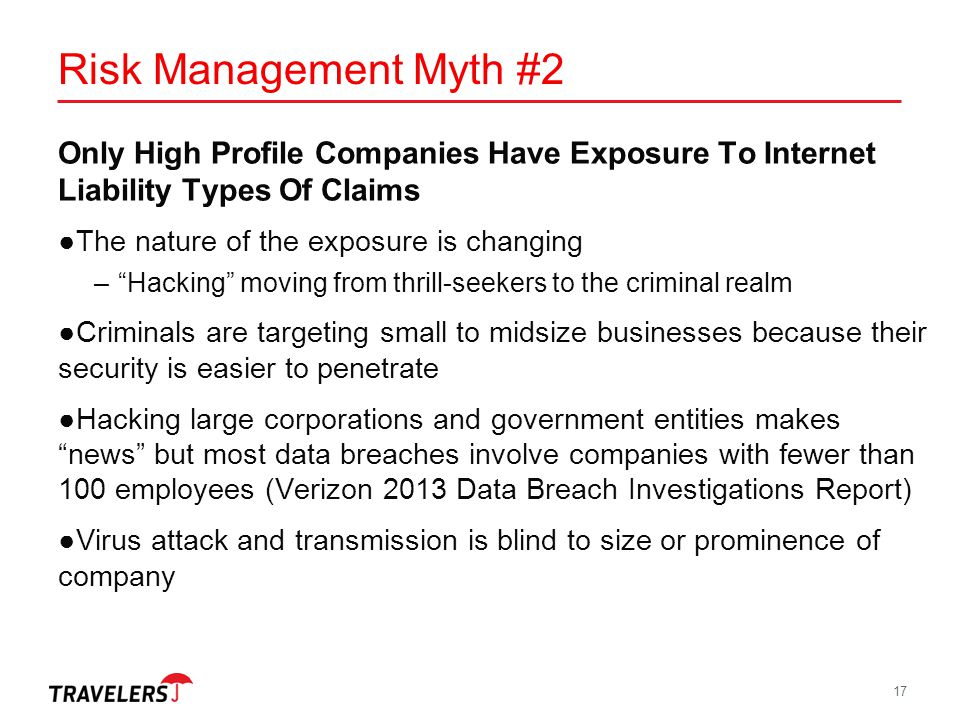 Risk Management Myth #2 Only High Profile Companies Have Exposure To Internet Liability Types Of Claims.