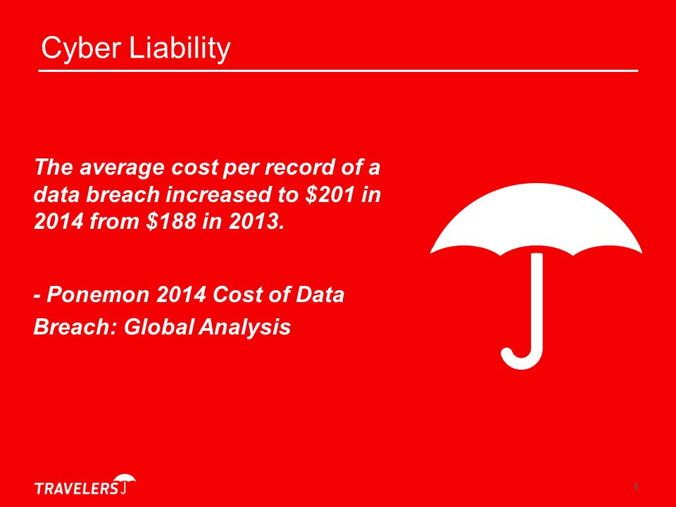 Cyber Liability The average cost per record of a data breach increased to $201 in 2014 from $188 in 2013.