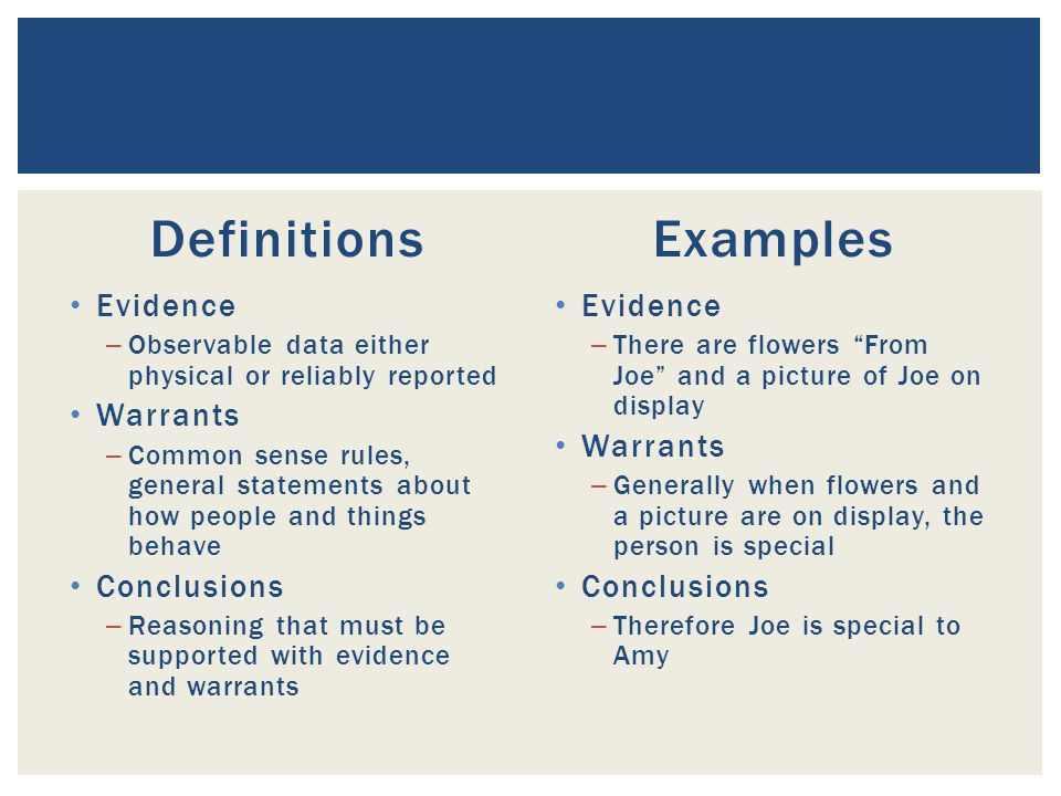 Definitions Examples Evidence Warrants Conclusions Evidence Warrants
