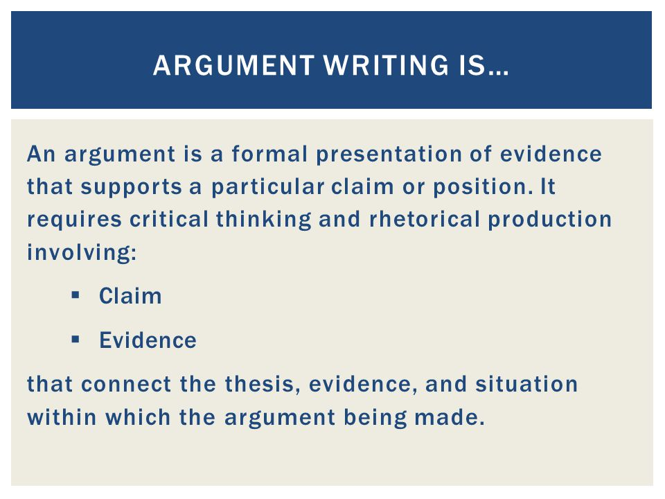 Argument writing is…