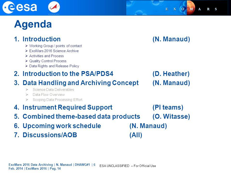 Agenda Introduction (N. Manaud)