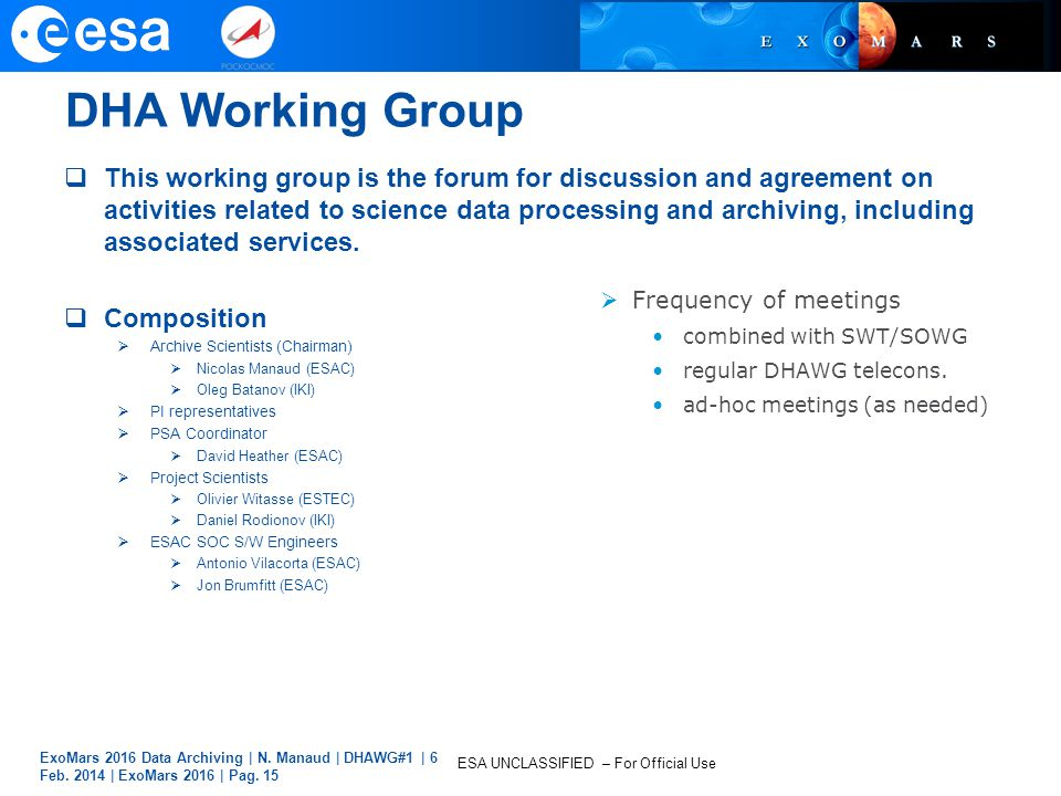 DHA Working Group