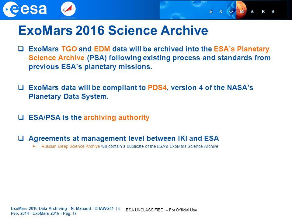 ExoMars 2016 Science Archive