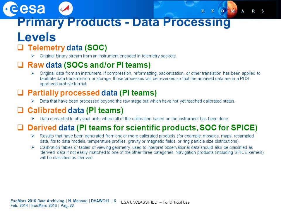 Primary Products - Data Processing Levels