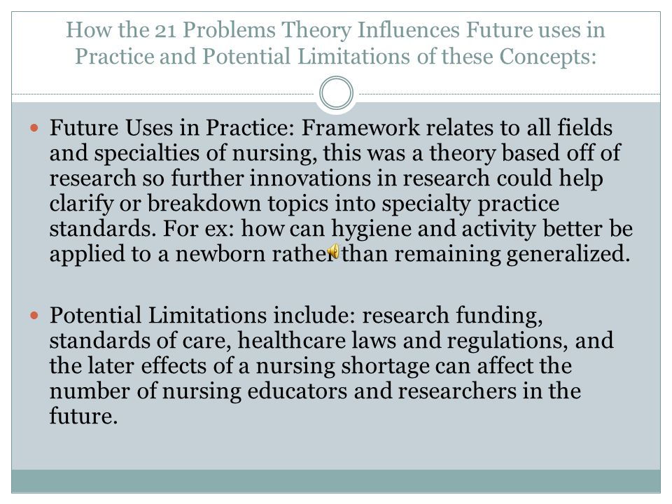 How the 21 Problems Theory Influences Future uses in Practice and Potential Limitations of these Concepts: