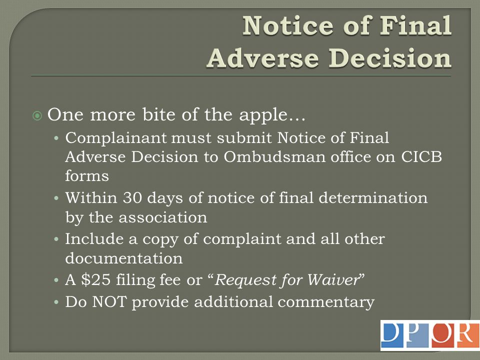 Notice of Final Adverse Decision