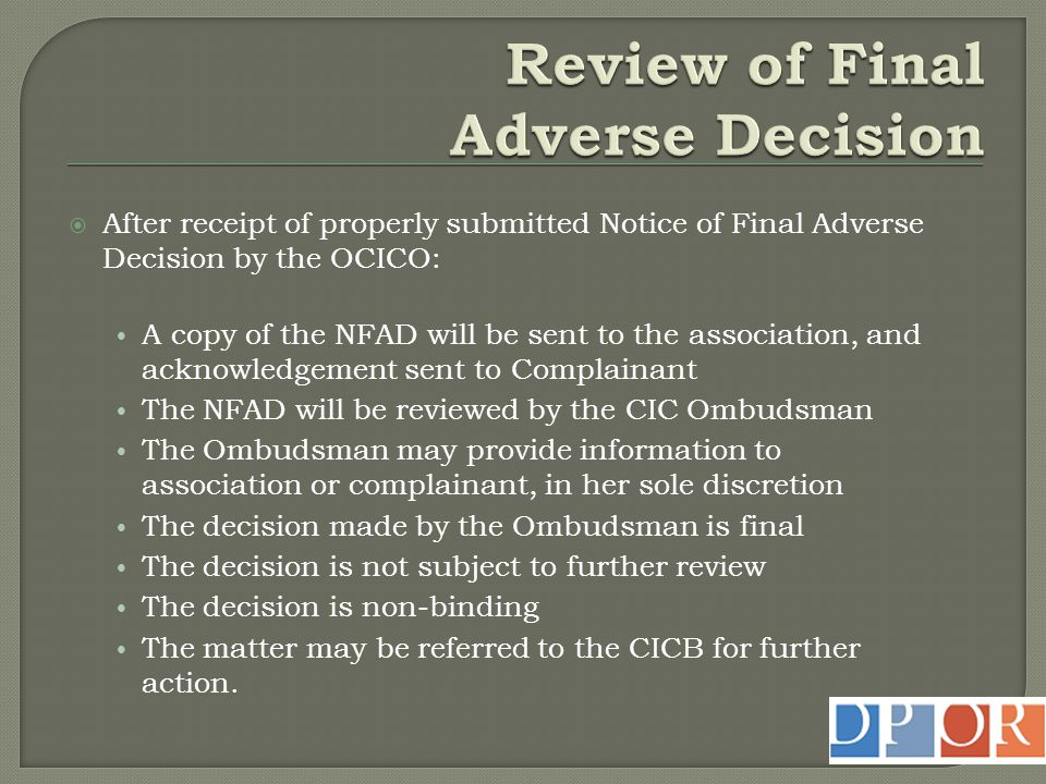 Review of Final Adverse Decision