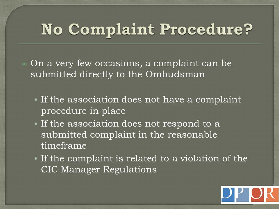 No Complaint Procedure
