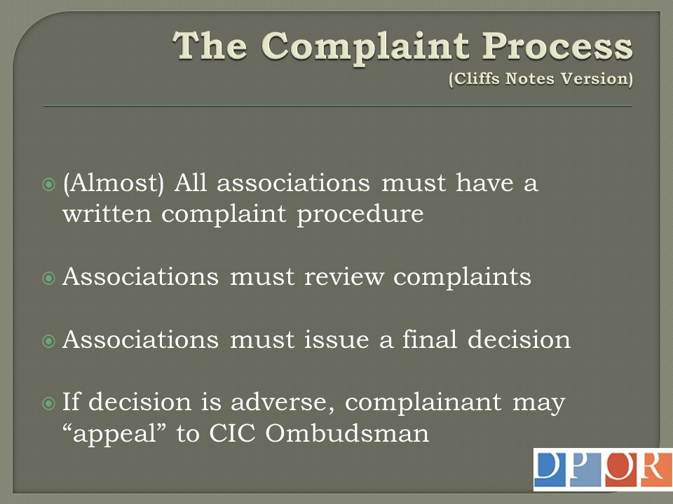 The Complaint Process (Cliffs Notes Version)