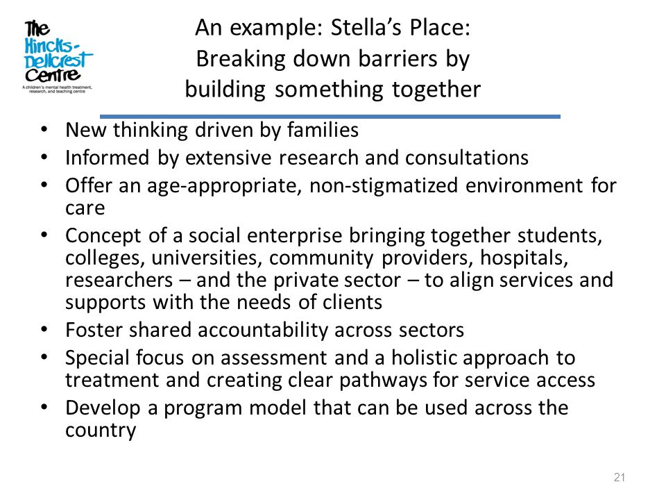 An example: Stella's Place: Breaking down barriers by building something together