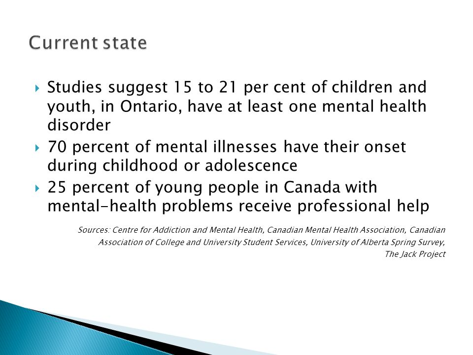 Current state Studies suggest 15 to 21 per cent of children and youth, in Ontario, have at least one mental health disorder.