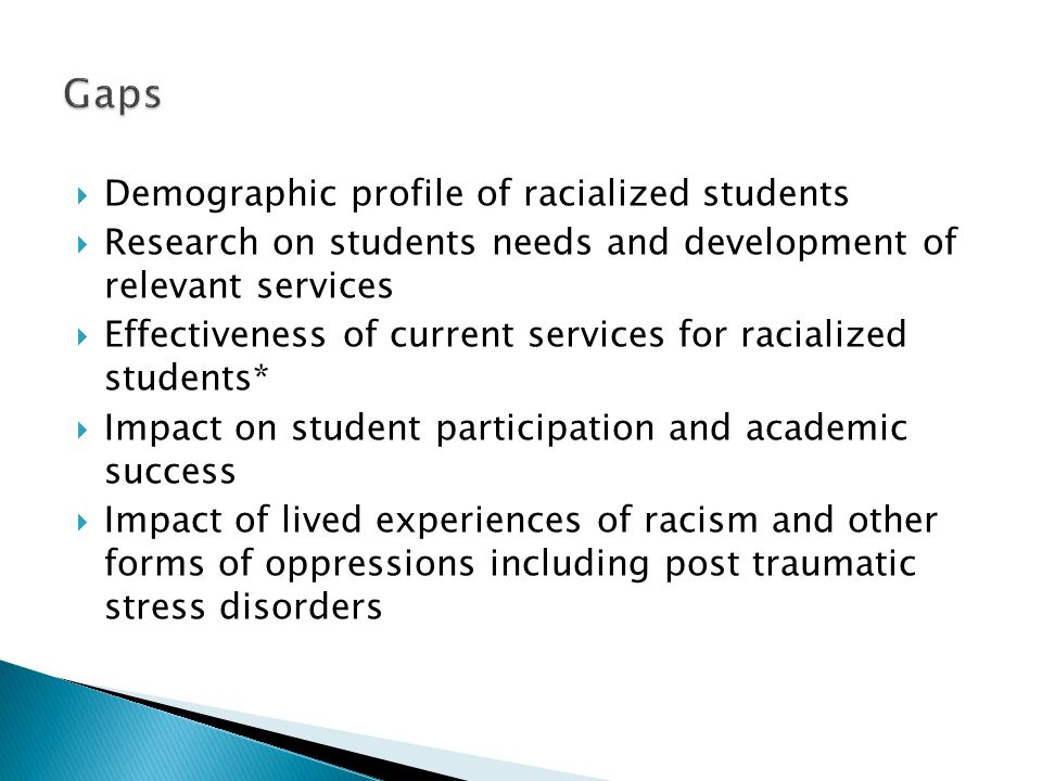 Gaps Demographic profile of racialized students