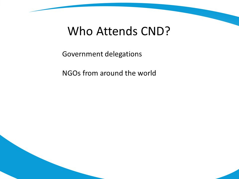 Who Attends CND Government delegations NGOs from around the world