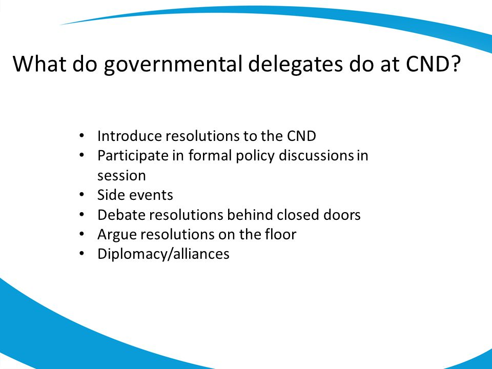 What do governmental delegates do at CND