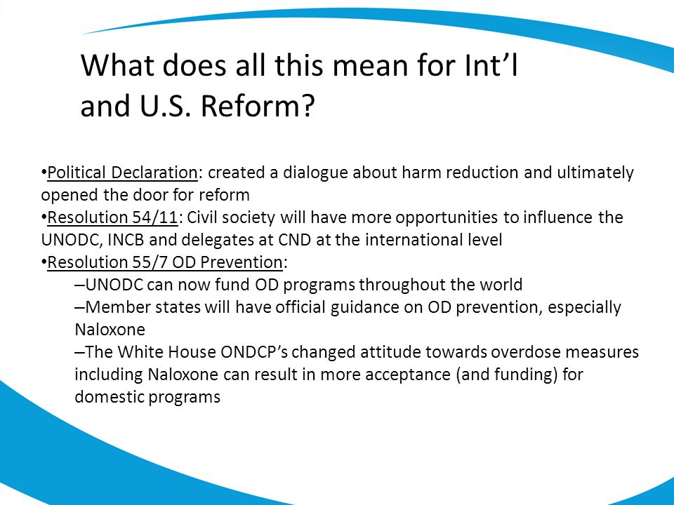 What does all this mean for Int'l and U.S. Reform