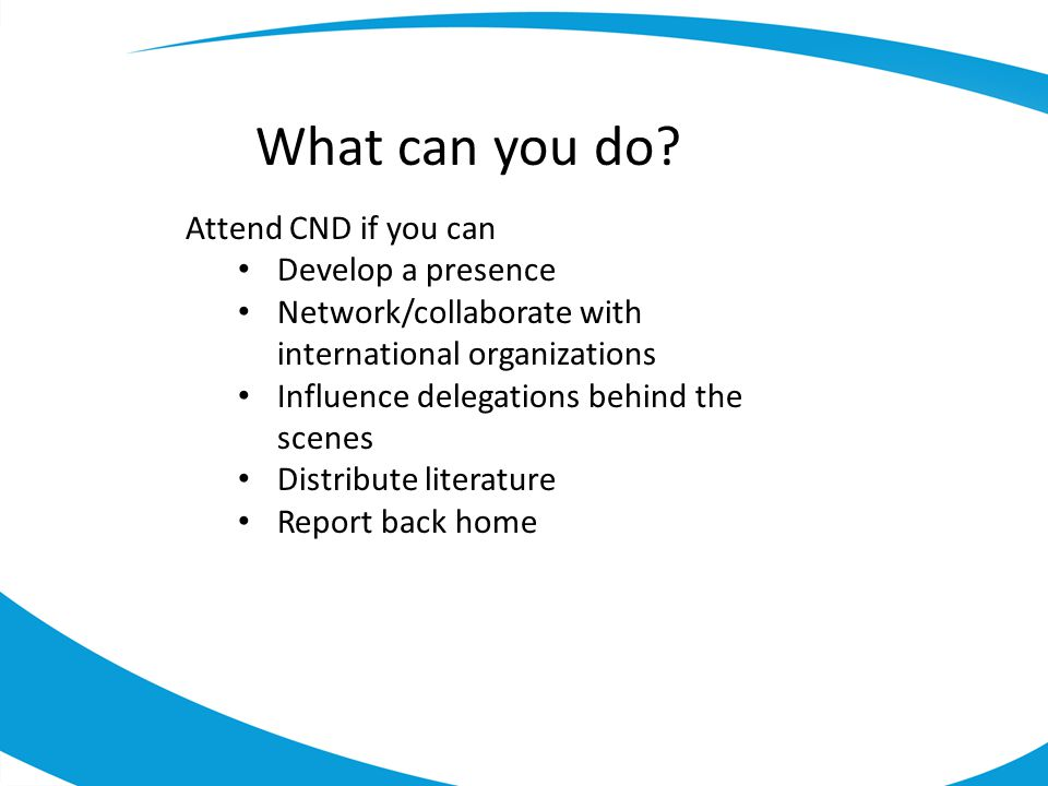 What can you do Attend CND if you can Develop a presence