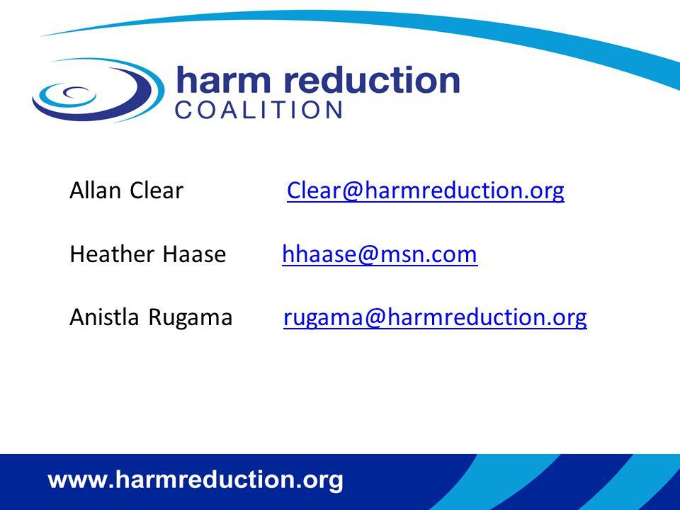 Allan Clear Clear@harmreduction.org