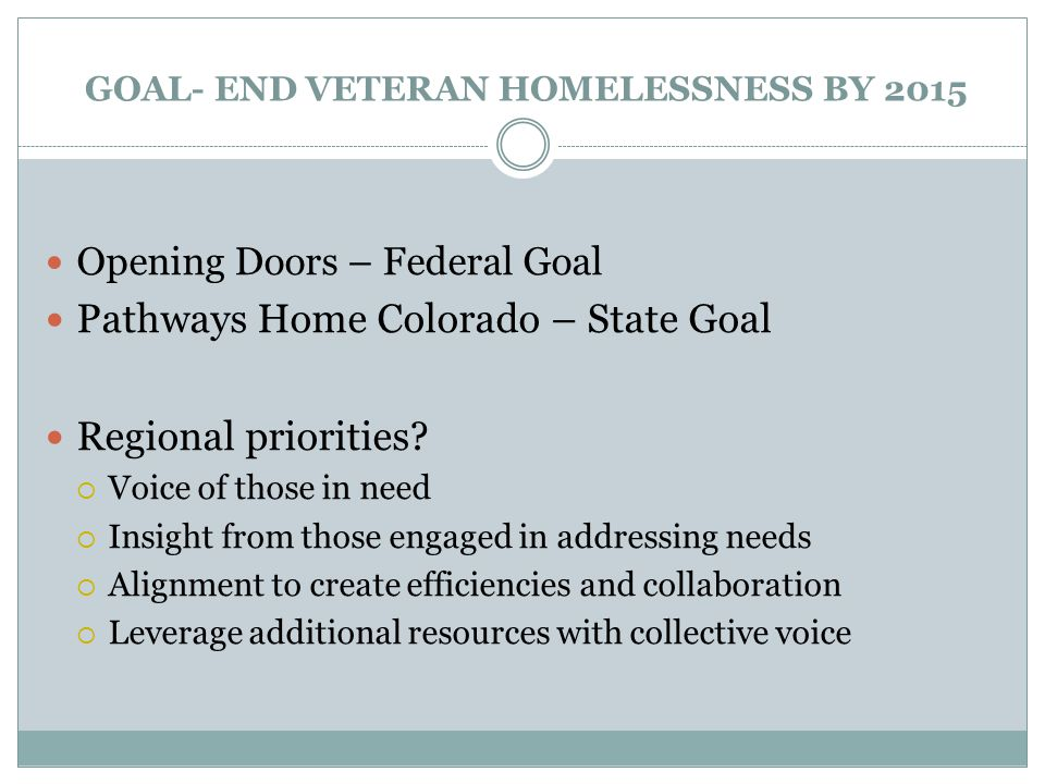 GOAL- END VETERAN HOMELESSNESS BY 2015