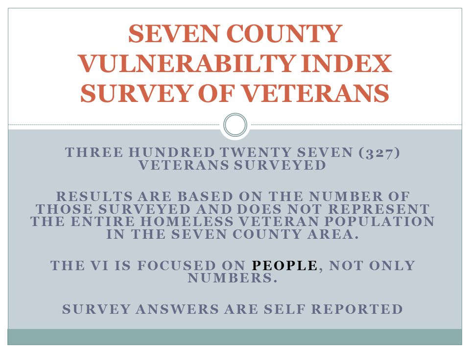 SEVEN COUNTY VULNERABILTY INDEX SURVEY OF VETERANS