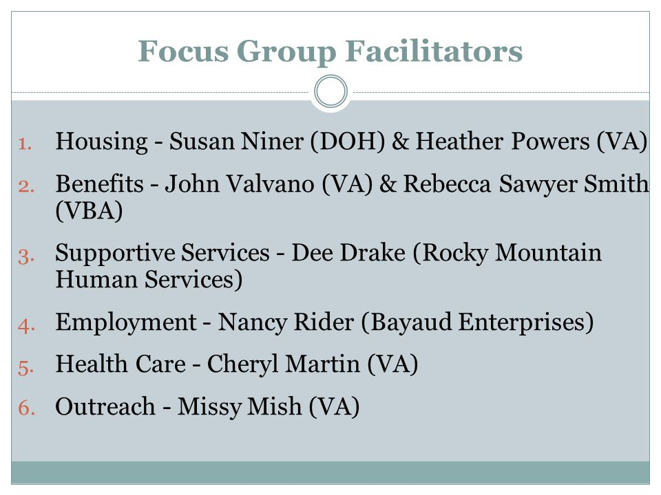 Focus Group Facilitators