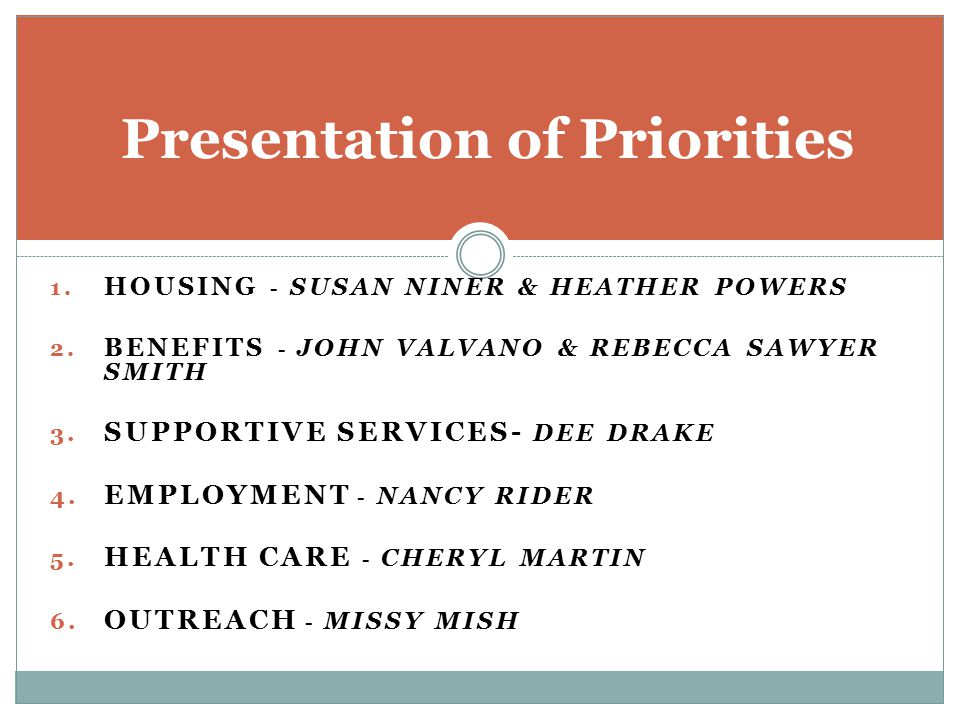 Presentation of Priorities