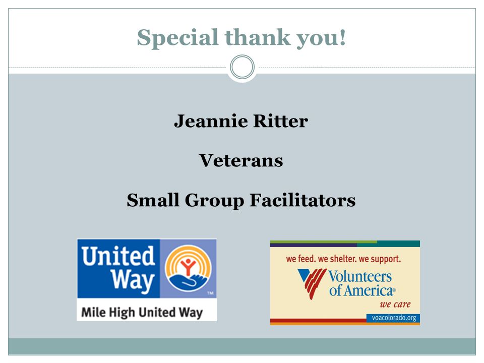 Jeannie Ritter Veterans Small Group Facilitators