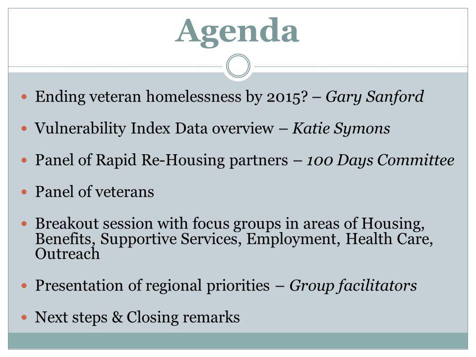 Agenda Ending veteran homelessness by 2015 – Gary Sanford