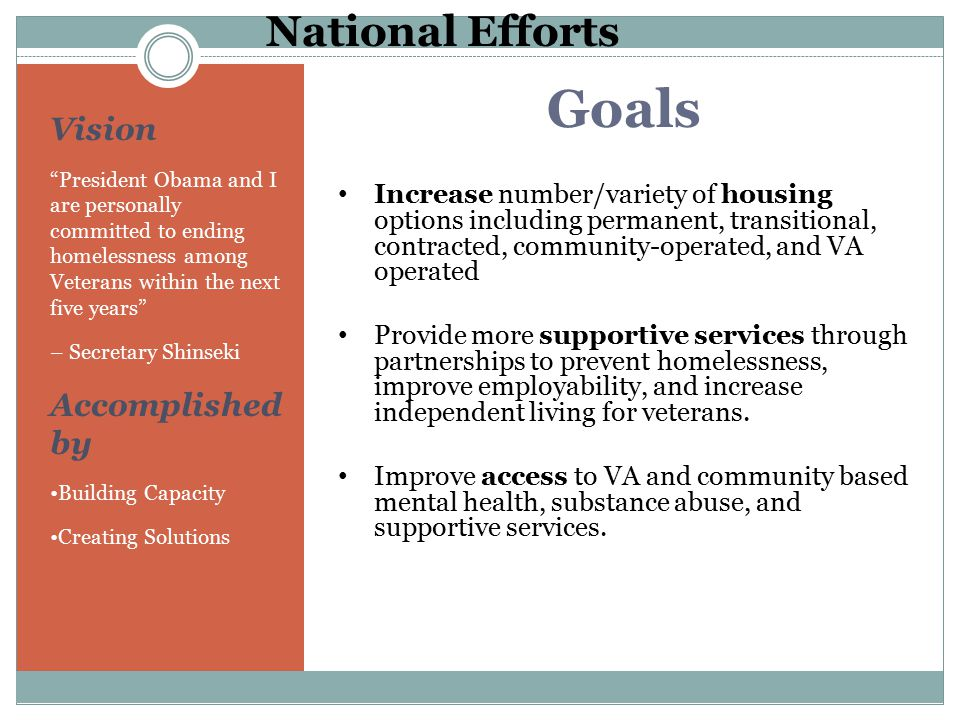 Goals National Efforts Vision Accomplished by