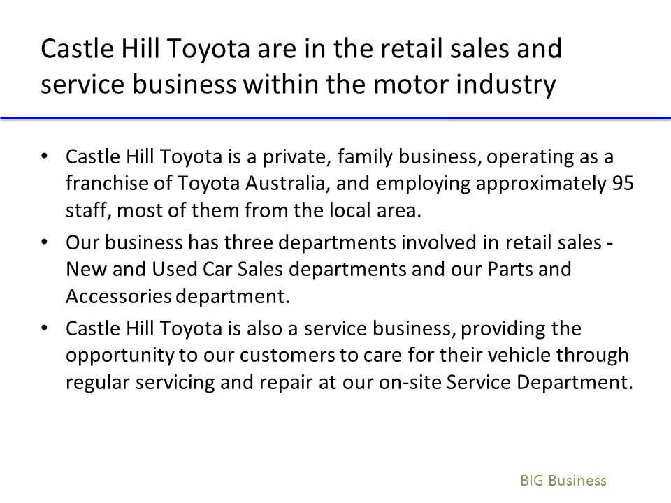 Castle Hill Toyota are in the retail sales and service business within the motor industry