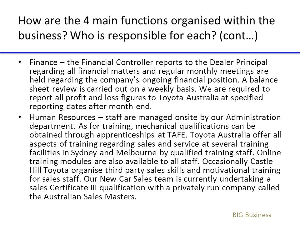 How are the 4 main functions organised within the business