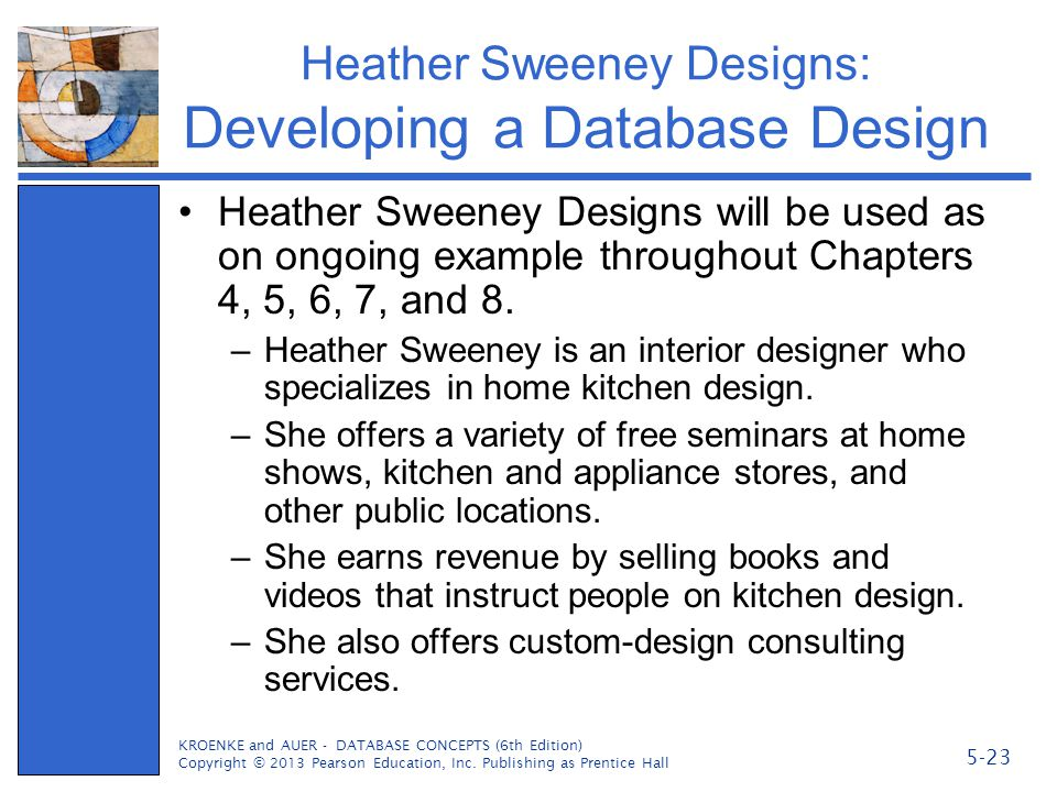 Heather Sweeney Designs: Developing a Database Design