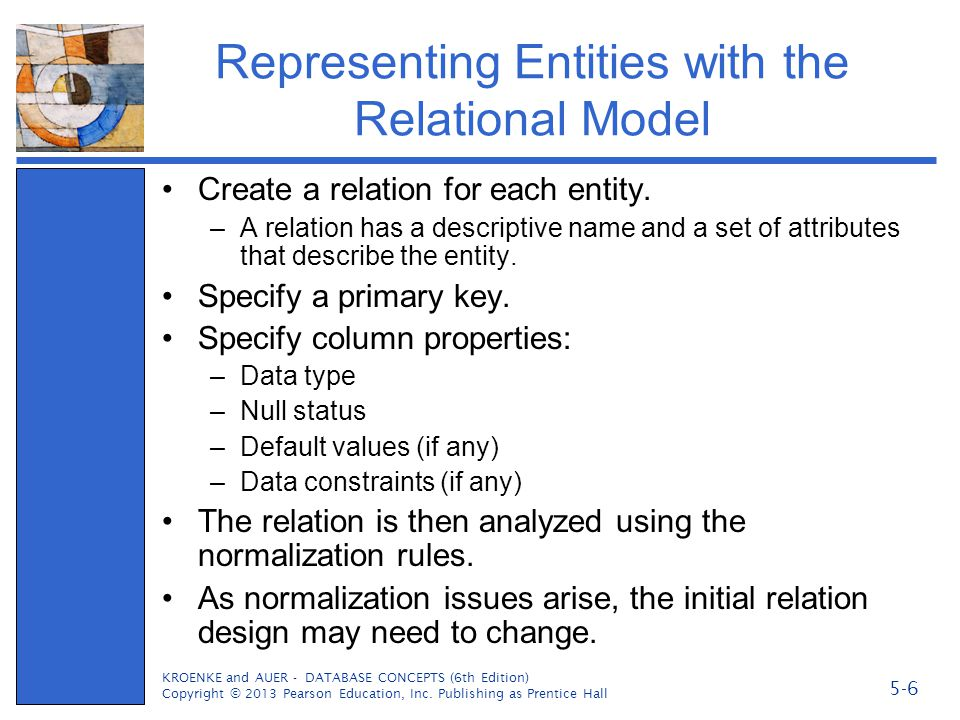 Representing Entities with the Relational Model