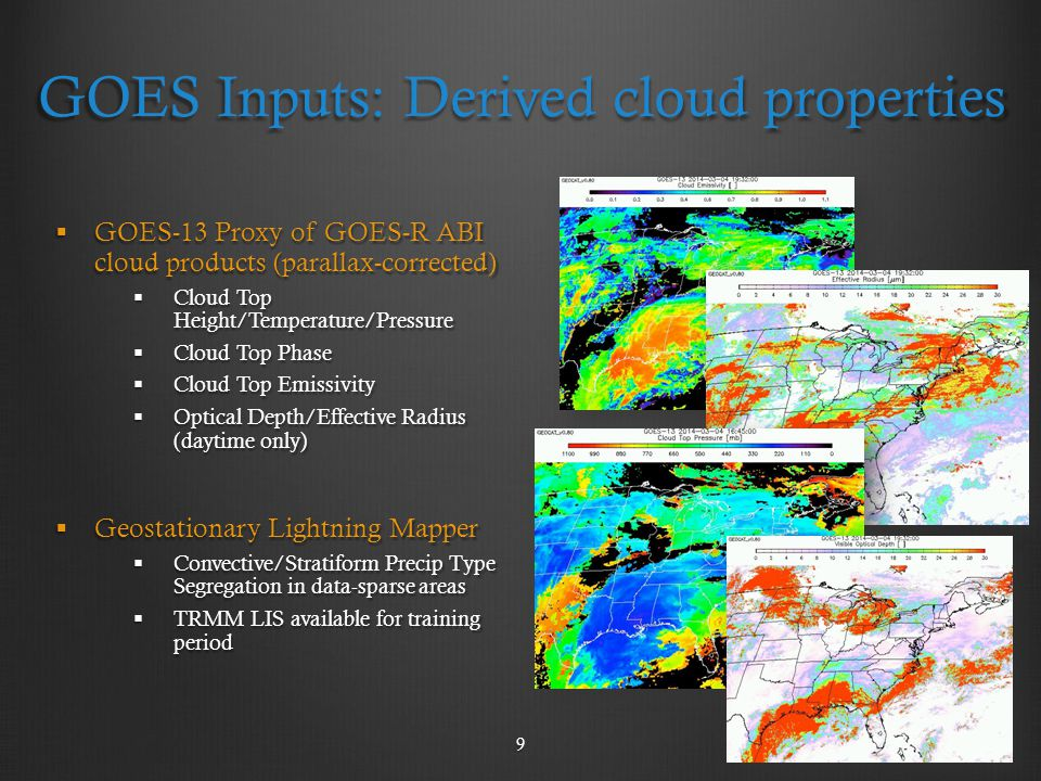 GOES Inputs: Derived cloud properties