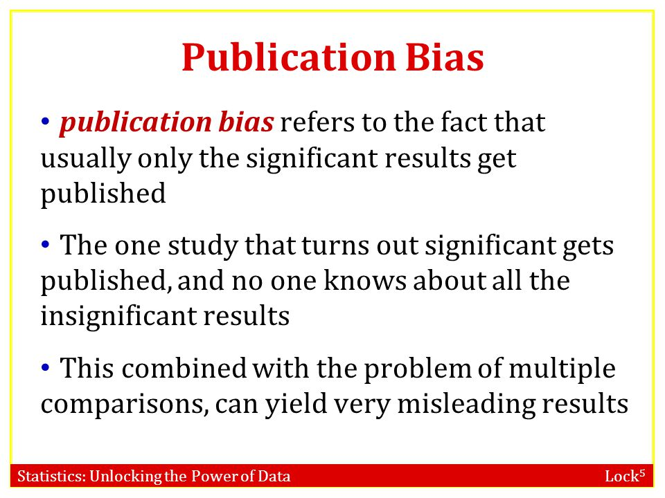 Publication Bias publication bias refers to the fact that usually only the significant results get published.