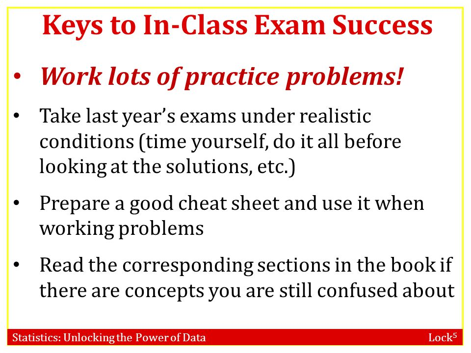 Keys to In-Class Exam Success