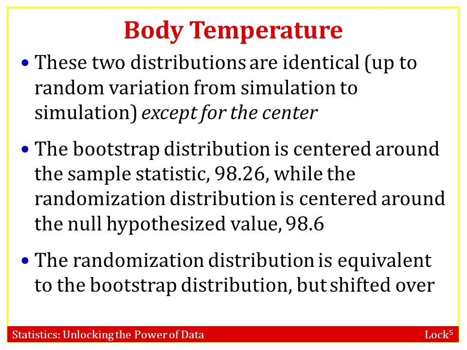 Body Temperature These two distributions are identical (up to random variation from simulation to simulation) except for the center.