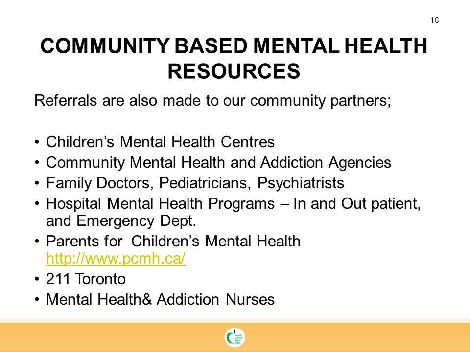 COMMUNITY BASED MENTAL HEALTH RESOURCES