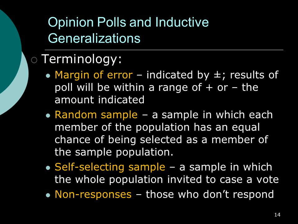 Opinion Polls and Inductive Generalizations