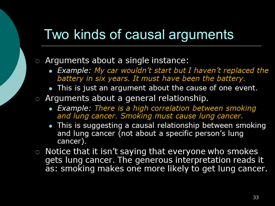 Two kinds of causal arguments
