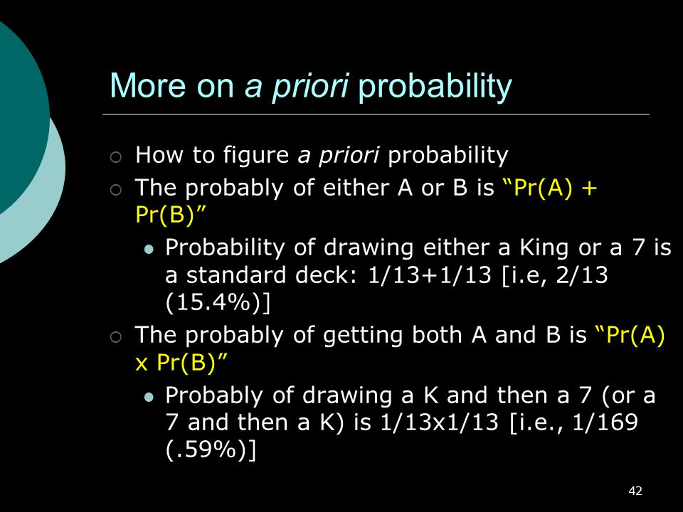 More on a priori probability