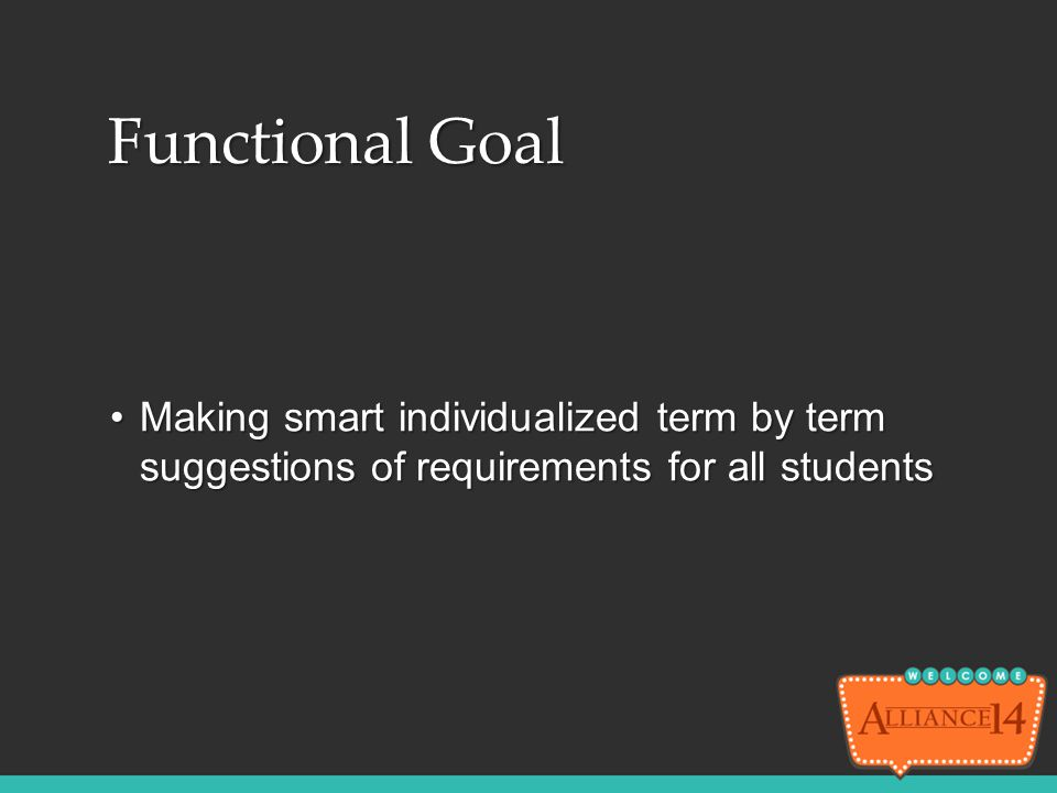 Functional Goal Making smart individualized term by term suggestions of requirements for all students.