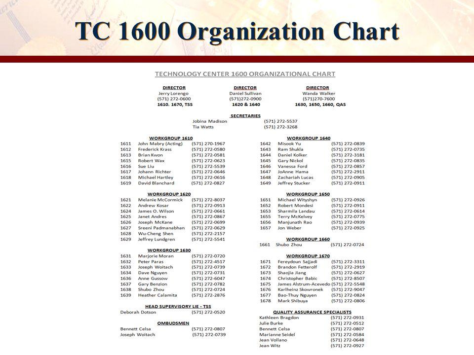 TC 1600 Organization Chart